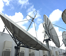 Satellite Antennas in Teleport facility with uplink and downlink services